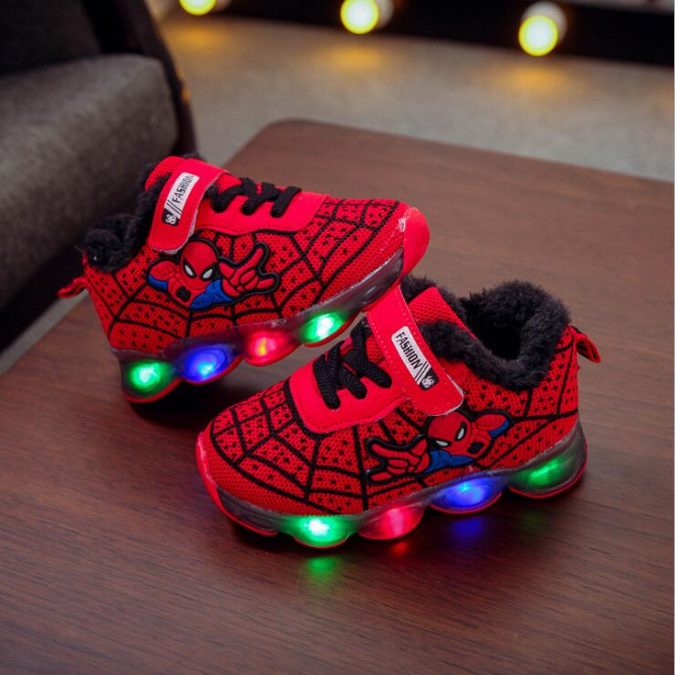 Kids Boys Girls Spiderman LED Trainers Flashing Light soft-soled Sports Sneakers