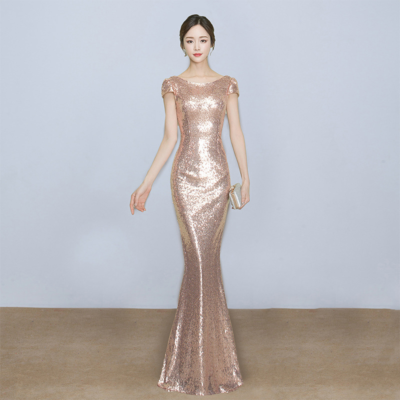 Annual General Meeting Host Evening Gown 2019 New Style Banquet Women's Nobility Elegant Dignified Glorious Long Slimming Summer