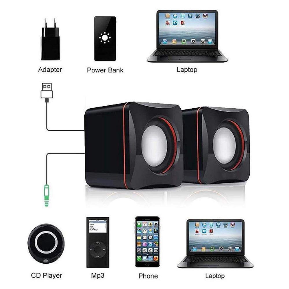 MeterMall Portable Computer Speakers USB Powered Desktop Mini Speaker Bass Sound Music Player System Wired Small Speaker