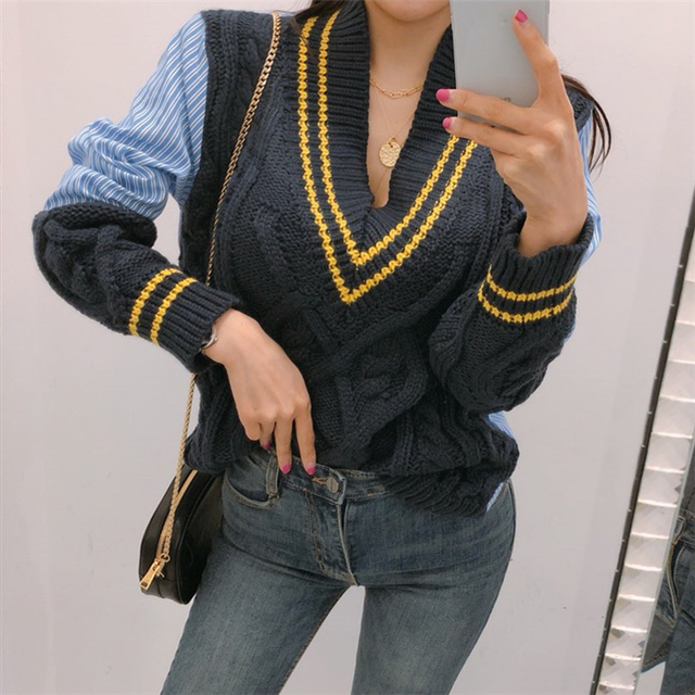 Ailegogo 2020 Autumn Winter Women's Sweaters Patchwork Srtiped V-Neck pullover Stylish Knitted Korean Female Jumpers SW1703 4
