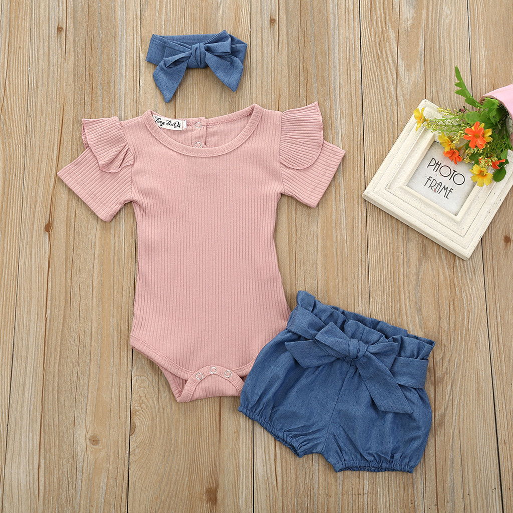 2Pcs//Set Baby Girl Outfits Short Sleeve Beach Bodysuit Romper+Striped Shorts