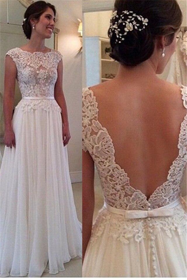 Romantic Cap Sleeve Beach Wedding Dress Scoop Neck Floor Length White Wedding Dresses Gowns Vestido De Noiva 2016