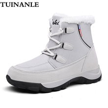 TUINANLE Women Winter Boots 2020 Fashion Waterproof Cloth Black Women Shoes Hot Warm Plush Shoes Ankle Botas Motorcycle Booties