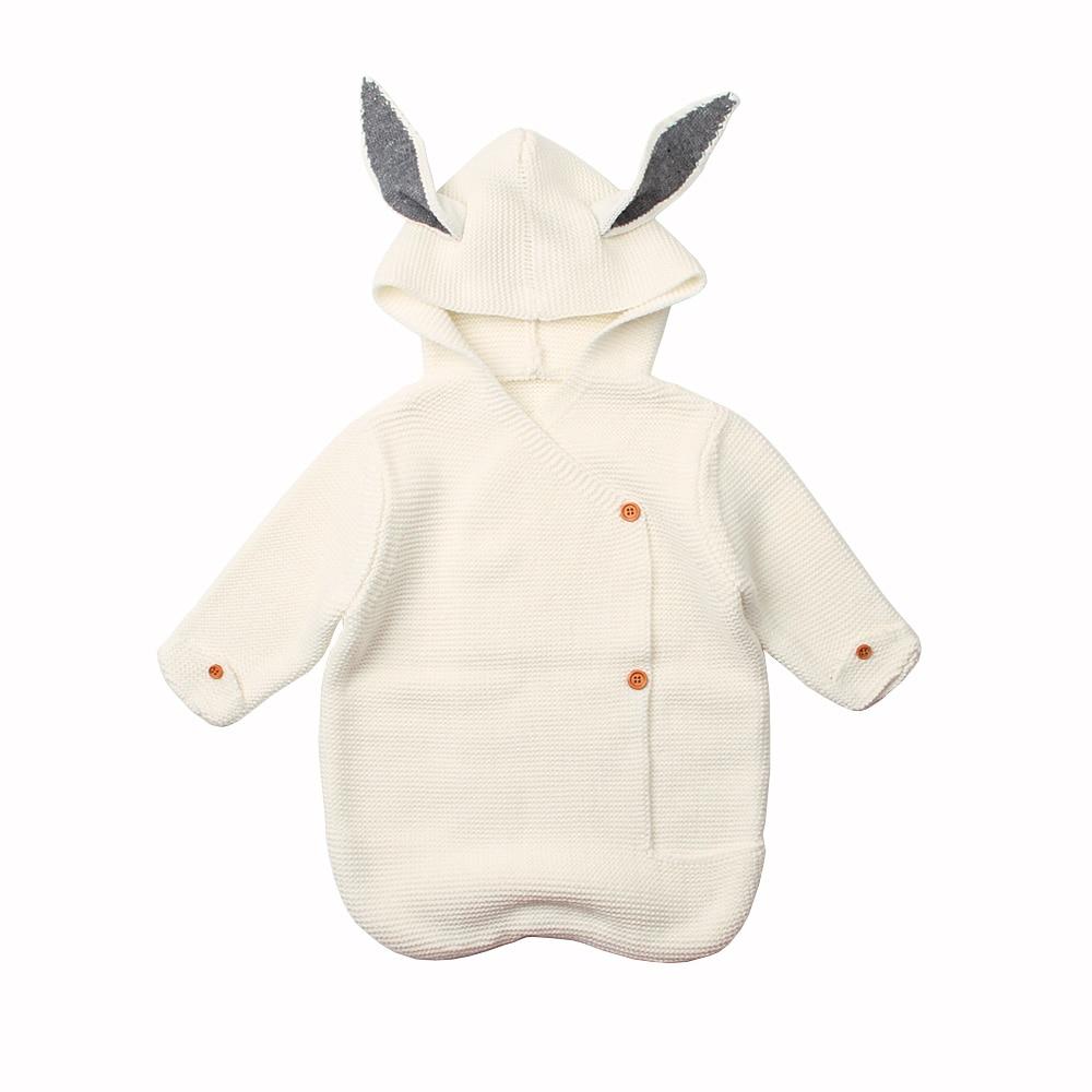 Baby Sleeping Bags Bunny Rabbit Knitted Newborn Boys Girls Swaddle Wrap Envelopes For Stroller Footmuff Sleep Sack Autumn Winter