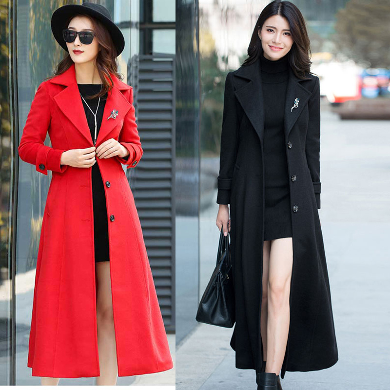 Women Winter 2019 Coats Autumn and Winter Classic Solid Color Belt Large Size Wool Coat Slim Thin Thick Long Hair Coat Female