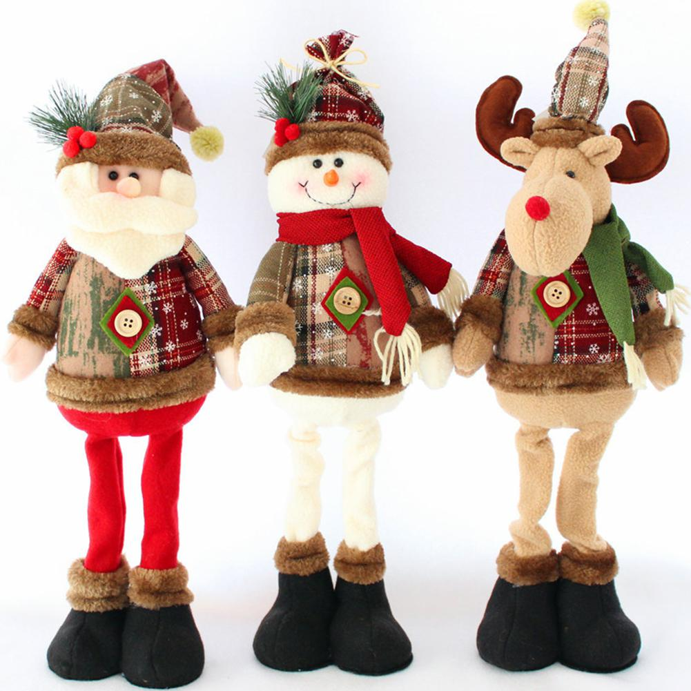GloryStar Christmas Santa Claus/Snowman/Elk Shape Doll Toys Xmas Tree Window Ornament