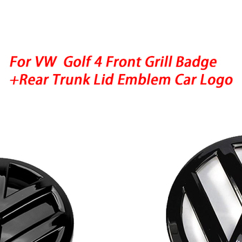 Блестящий черный значок 116 мм на переднюю решетку + 118 мм эмблема на заднюю крышку багажника, логотип автомобиля подходит для VW Volkswagen Golf MK4 1999 2006|Эмблемы|   | АлиЭкспресс