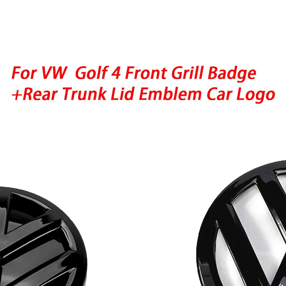 Блестящий черный значок 116 мм на переднюю решетку + 118 мм эмблема на заднюю крышку багажника, логотип автомобиля подходит для VW Volkswagen Golf MK4 ...