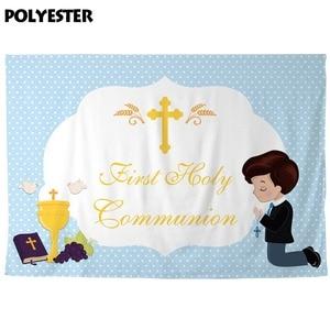 Image 3 - Allenjoy Achtergrond Eerste Heilige Communie Blauwe Stippen Jongen Prins Cross Baby Shower Party Achtergrond Photozone Photophone Photobooth