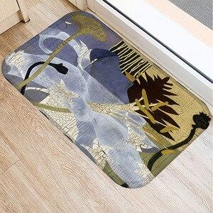 Image 2 - 40*60cm peinture à lhuile Art tapis de sol anti dérapant daim tapis tapis de porte cuisine salon tapis de sol chambre tapis de sol décoratif.