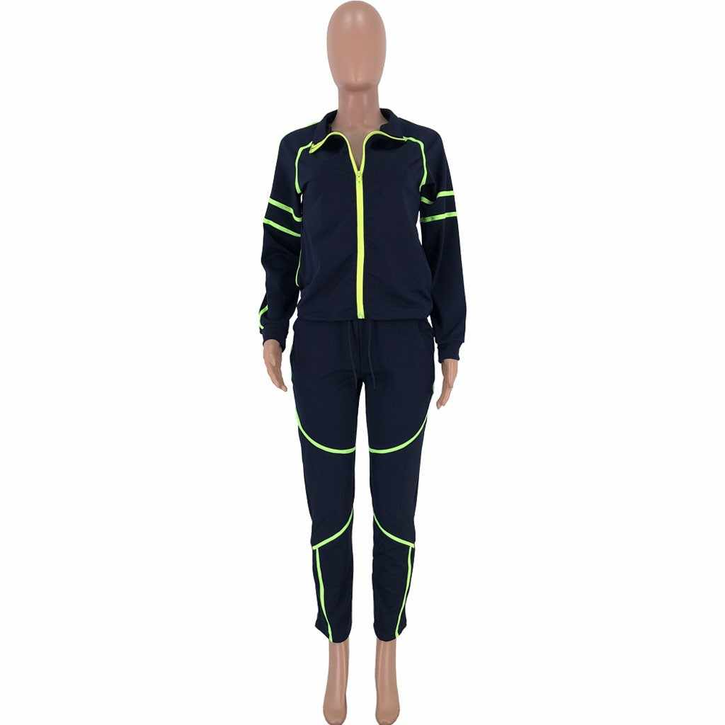 Frauen trainingsanzüge 2 stück set neon helle farbe set Langarm Tops + Hosen frauen trainingsanzug 2019 herbst winter eşofman takımı #3