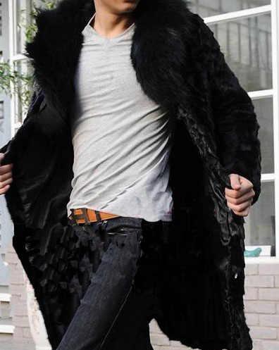 Коллекция 2019 года, осенне-зимнее мужское пальто, стильная теплая утепленная Меховая куртка, пальто, верхняя одежда с воротником из меха Черной Лисы, шуба из норки, YY1032