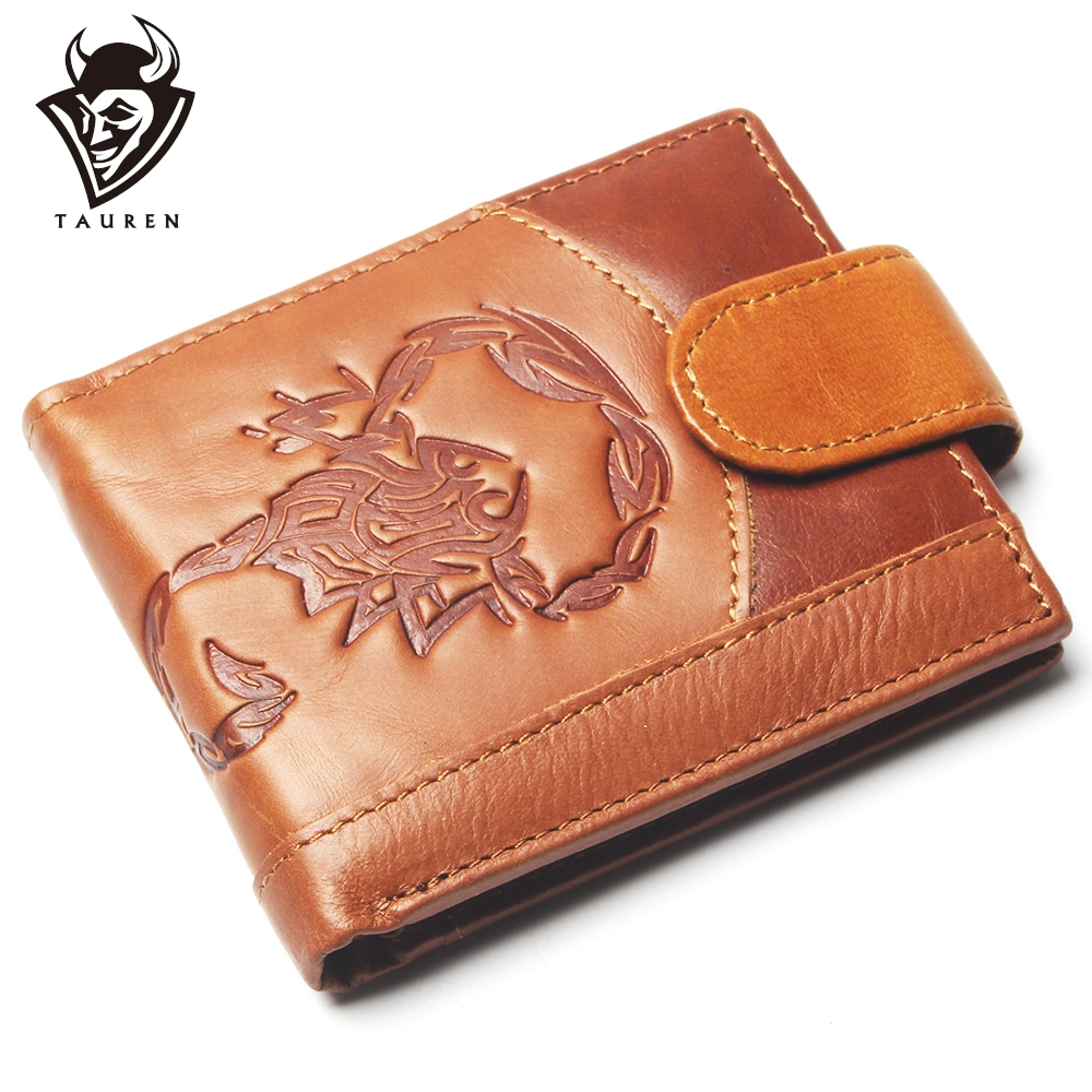 New Coin Purse Cheap Mens Retro Scorpion Pattern Wallet Genuine Leather Coin Purse For Men Card Holder Strong Wallet