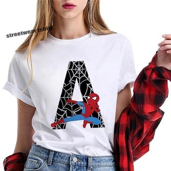 Womens tshirt summer Spiderman Avengers Letter Bow Print tshirt Cartoon letter print pattern T shirt harajuku Kawai top tee girl цена 2017