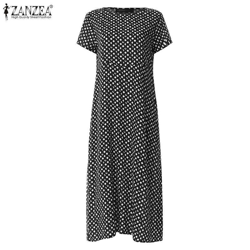 ZANZEA Для женщин Летний комбинезон в горошек платье с принтом элегантная для работы в офисе, Vestido Повседневное Винтаж короткий рукав вечерние сарафан, женский халат
