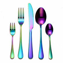 Tableware-Cutlery-Set Fork-Spoon Cutlery-Color Rainbow Stainless-Steel Kitchen Colorful