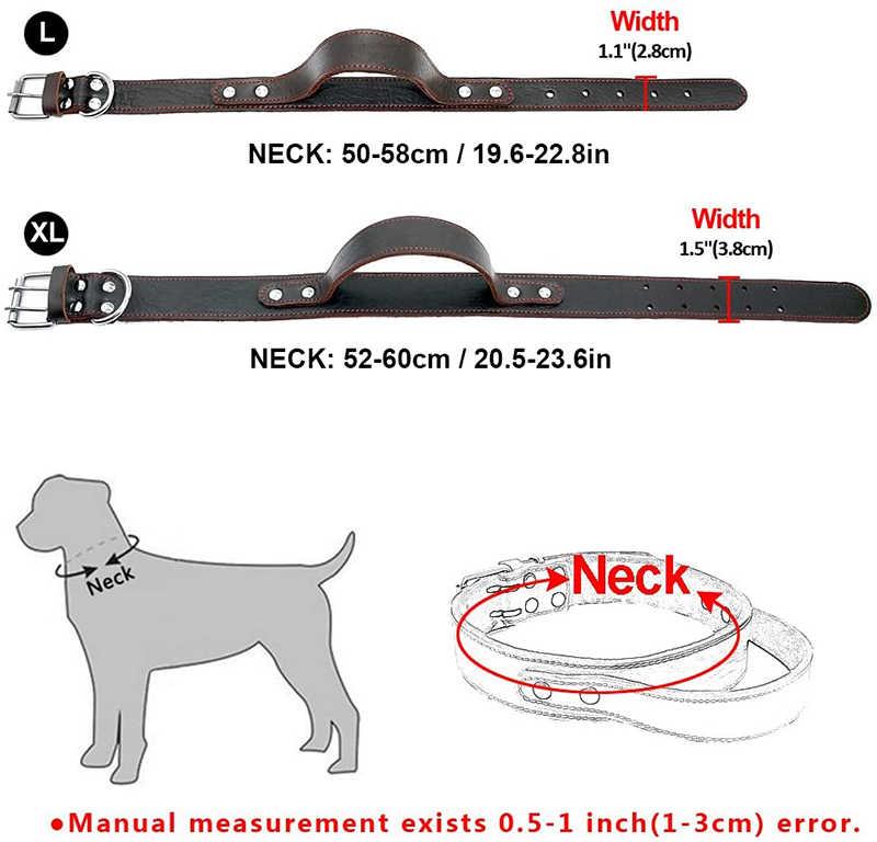 Benepaw חסון אמיתי עור כלב צווארון Conrol ידית אופנה עמיד כבד החובה חיית עבור בינוני גדול כלבים