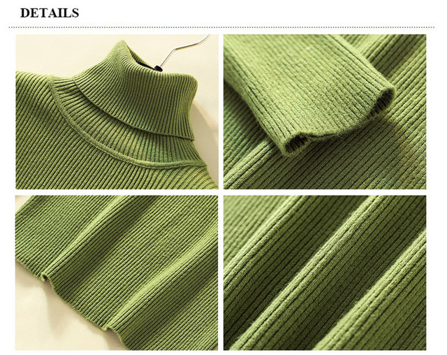 Knit Sweater Women Turtleneck Casual Pure Cashmere Pullover Autumn Winter Solid Long Sleeve Slim-jumper Soft Tops Pull Femme 5