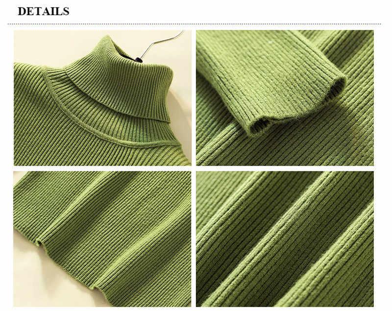 Suéter de punto para mujer cuello alto Casual Pullover de cachemira pura Otoño Invierno sólido manga larga ajustado-jumper tapas suaves Pull Femme