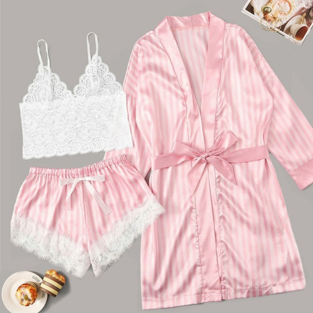 Three Pieces Sweet Pajamas For Women Babydoll Lace Elegant Striped Stain Lingerie Silk Pyjamas Pizama Damska Sexowna #30