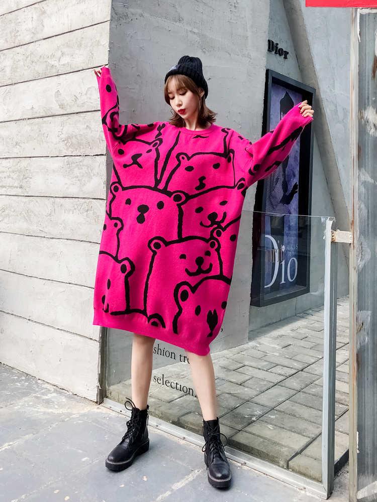 QING MO Весна синий Красный Кофейный женский пуловер свитер платье 2020 женский зимний теплый длинный свитер женский свитер с рисунком ZQY2158
