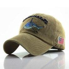Спортивная бейсбольная кепка для мужчин и женщин, помытые хлопковые кепки с вышитыми буквами и рисунком акулы, бейсболка, модная Кепка Gorras