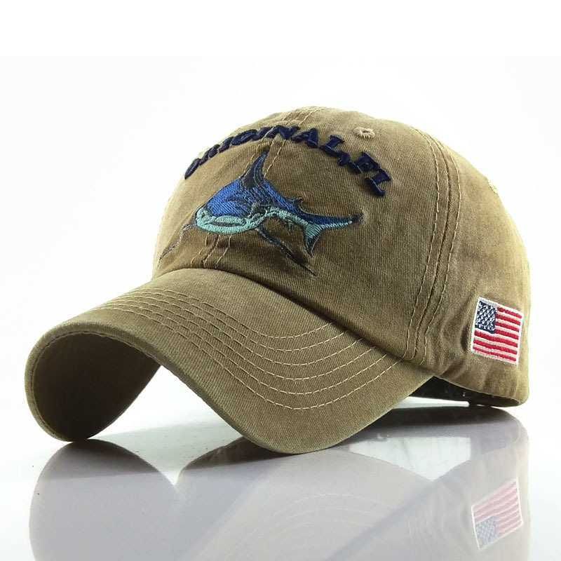 <font><b>Sport</b></font> <font><b>Baseball</b></font> <font><b>Cap</b></font> Men Women Washed Cotton Do Old Hats Embroidered Letter Shark Pattern Fitted <font><b>Caps</b></font> Snapback Hat Fashion Gorras image