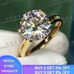 YANHUI ma 18K RGP LOGO czysty solidny pierścionek z żółtego złota luksusowy okrągły pasjans 8mm 2.0ct Lab obrączki z diamentami dla kobiet ZSR169