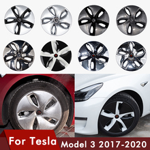 цены 4PCS/Set For Tesla Model 3 Wheel Cap 2020 Model3 Accessories Hub Cover 18-inch Automobile Hubcap Model Three Carbon Fiber ABS