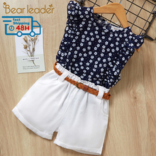 Bear Leader 2020 New Summer Casual Children Sets Flowers Blue T-shirt+
