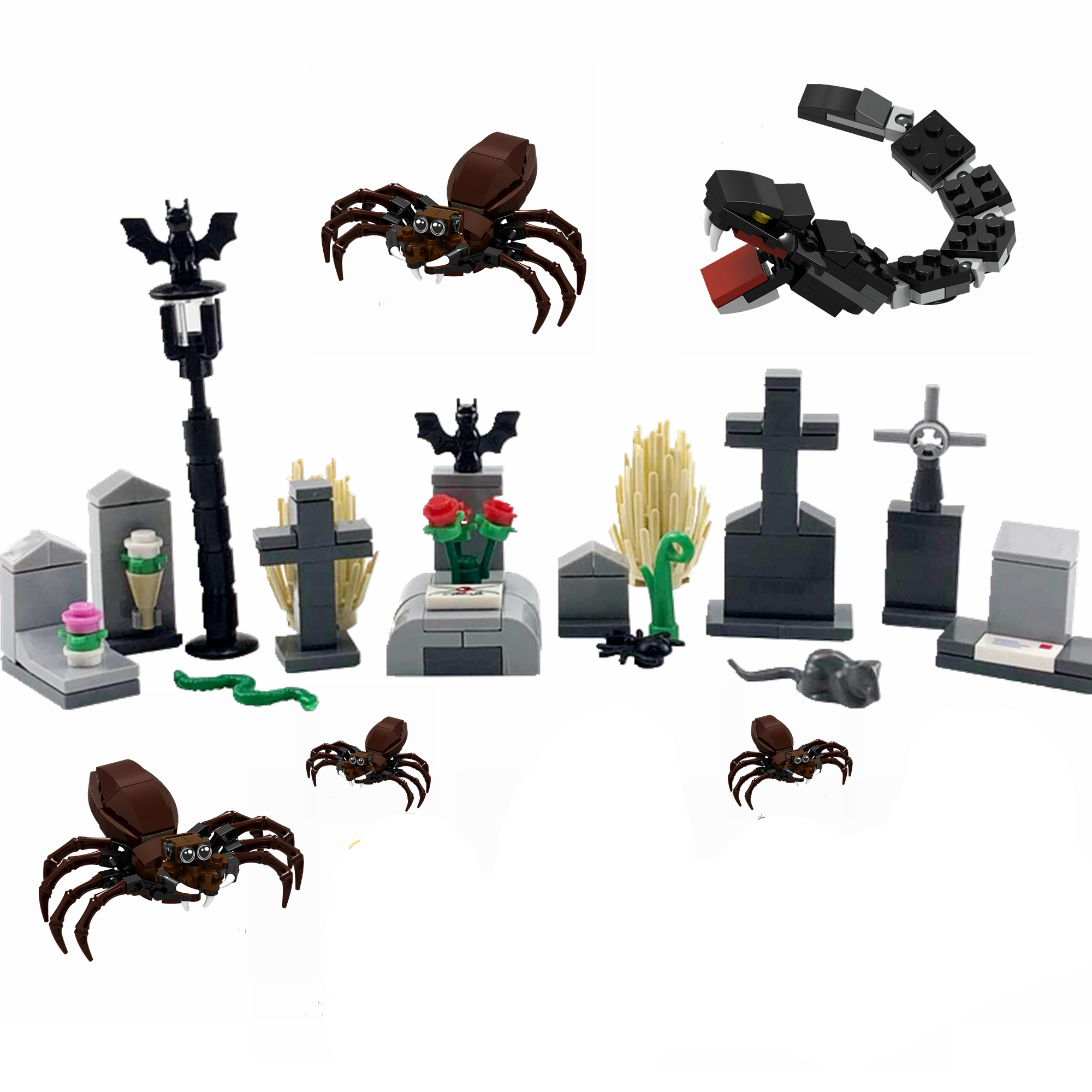 Locking Creator MOC Halloween Grave Skeleton DIY Building Kits Toys for Children Compatible Accessories Creative Locking Block