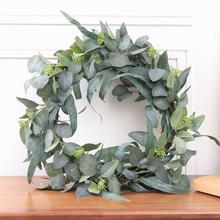 Artificial Greenery Fake Eucalyptus Leaf Wreath Bushes Plastic Plants for Home Party Wedding Decoration