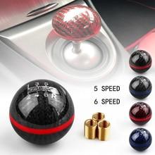 Universal Interior Parts Genuine Carbon Fiber Mugen 5 6 Speed Racing Car Manual Automatic Spherical Gear Shift Knob