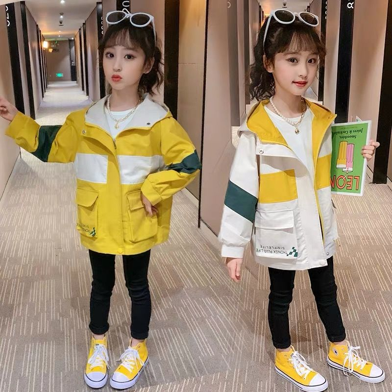 Spring Autumn Pocket Colorblock Jackets for School Girls Teenage Fashion Kids Girl Hooded Windbreaker Children Baby Trench Coat