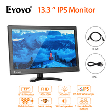 Eyoyo EM13 13.3'' BNC FHD 1080P LCD monitor IPS industrial metal Computer HDMI display With VGA BNC USB For CCTV Security Screen
