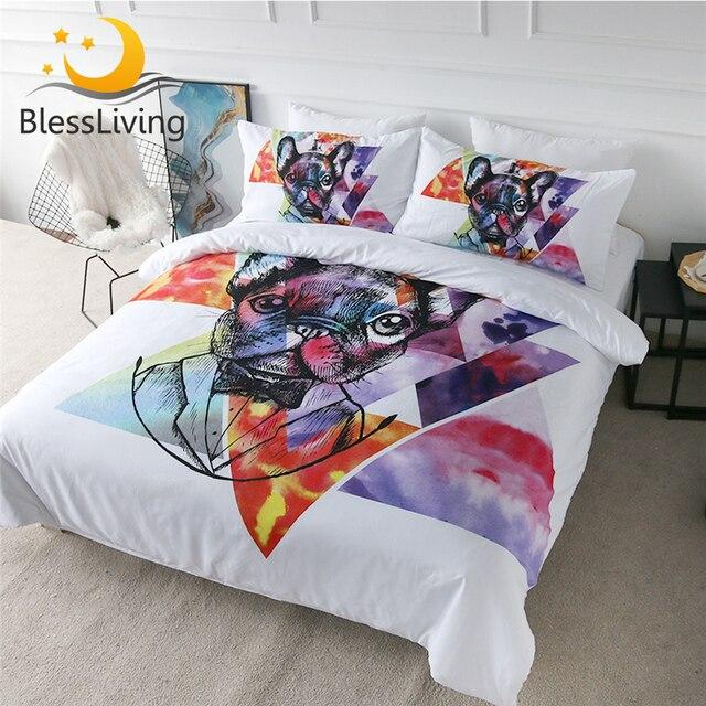 Blessliving Pug Beddengoed Set Aquarel Franse Bulldog Dekbedovertrek Hipster Puppy Hond Bed Set 3 Pieces Geometrische Spreien Koningin