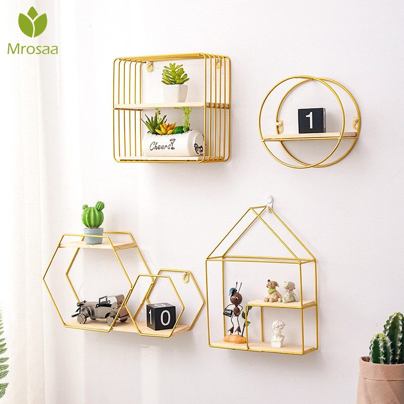 Hot Wooden Gold Storage Racks Hanging Decor Storage Box Flower Pot House Storage Rack Wall Book Figurines Display Crafts Shelves|Decorative Shelves| |  - title=