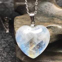 Doğal aytaşı kalp kolye kolye kadın Lady için S925 gümüş zincir 17x7mm boncuk mavi ışık kristal lüks kolye AAAAA