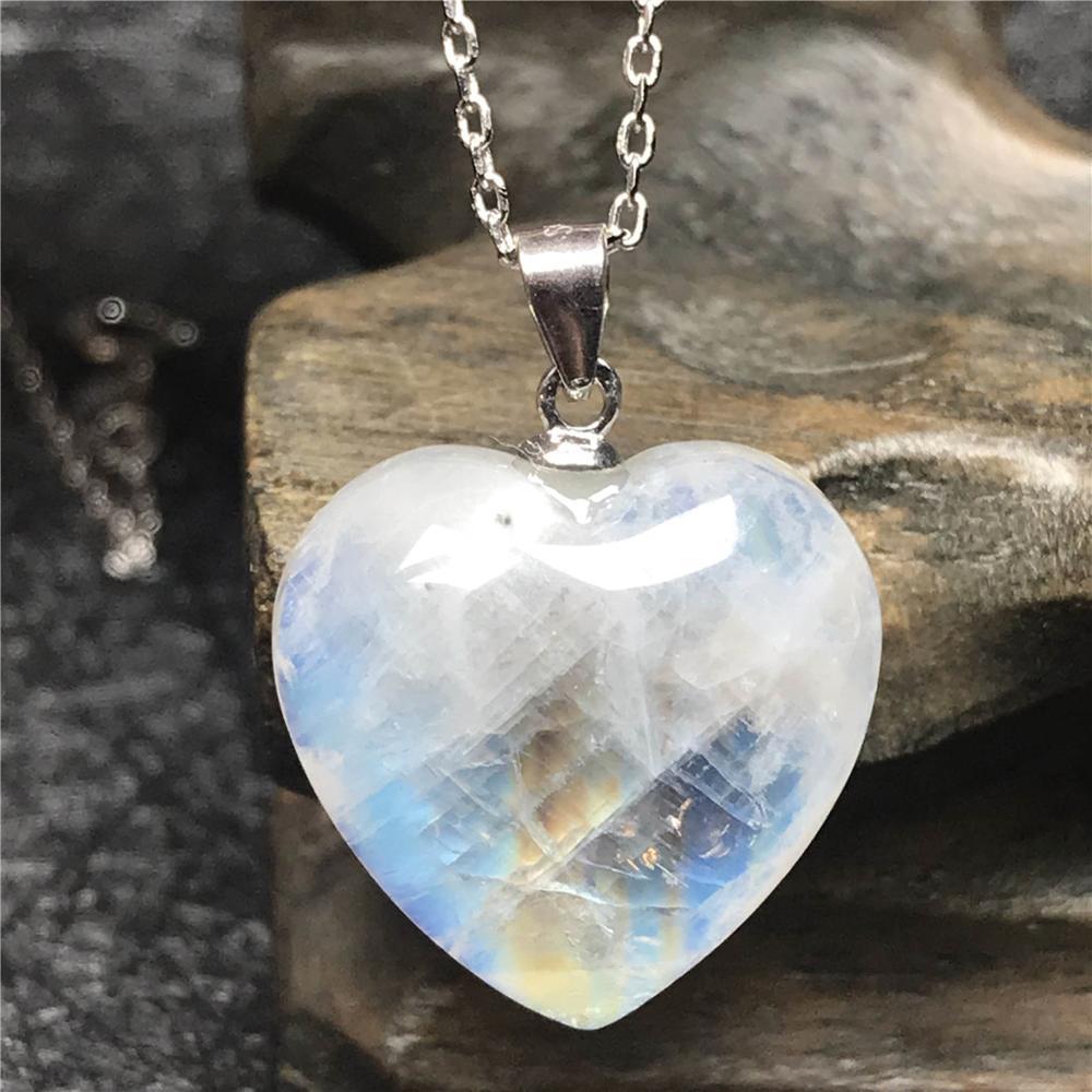 Natural Moonstone Heart Pendant Neckalce For Woman Lady S925 Silver Chain 17x7mm Beads Blue Light Crystal Luxury Neckalce AAAAA