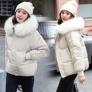 Image 2 - WXWT kışlık mont ceket parkas 2020 yeni kadın moda büyük kürk yaka kapşonlu kalın pamuk aşağı ceket rusça kış ceket