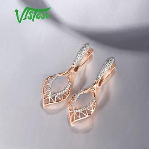 Image 5 - VISTOSO 14K 585 Rose Gold Earrings For Lady Glamorous Elegant Sparkling Diamond Earrings Luxury Wedding Engagement Fine Jewelry