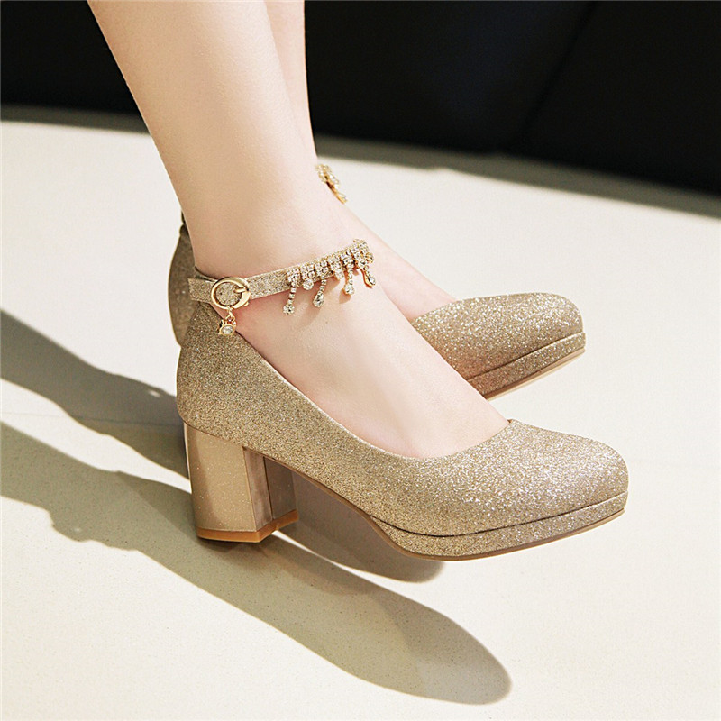 2019 Block Heel Summer Gold Silver Crystal Tassel Wedding Party Shoes Women High Heels Pumps Bling Ladies Shoe Plus Size