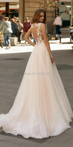 Image 2 - Elegant Champagne Wedding Dresses Boho 2020 A Line Illusion V Neck Applique Flowers Sleeveless Floor Length Tulle Bridal Gowns