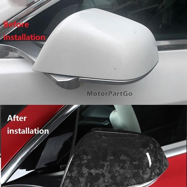 Real Crabon Fiber Mirror Cover 1 pair for  Tesla forging  Model 3 2016-2020  T266M 3