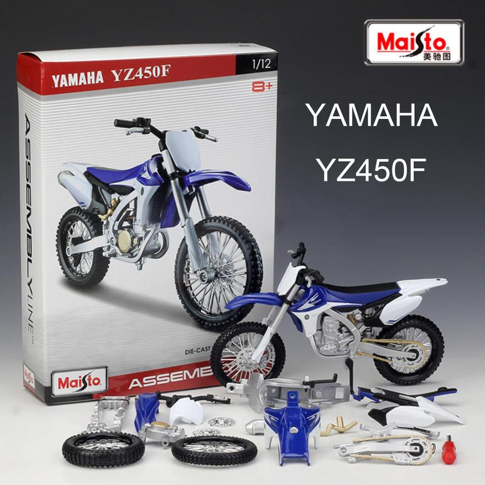 Maisto <font><b>1/12</b></font> 1:12 Scale YAMAHA YZ 450 F Off Road Motocross <font><b>Motorcycle</b></font> Assembly Display Collectible <font><b>Models</b></font> Children Boys Kid Toy image