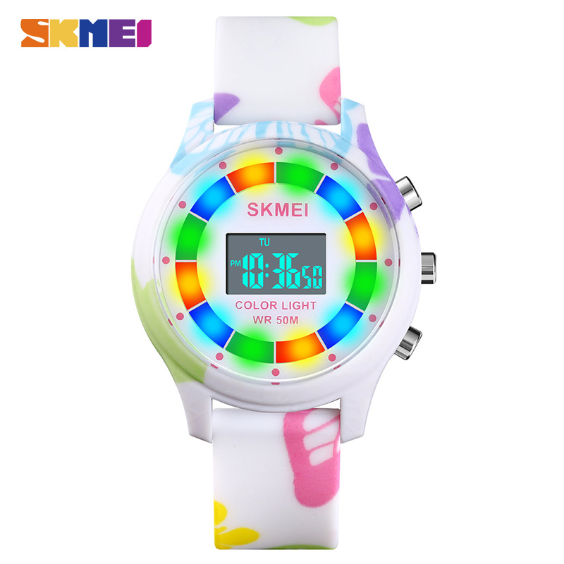 SKMEI Colorful LED Light Children Electronic Clock Kids Wristwatches 5Bar Waterproof Digital Sports Watches For Boys Girls 1596