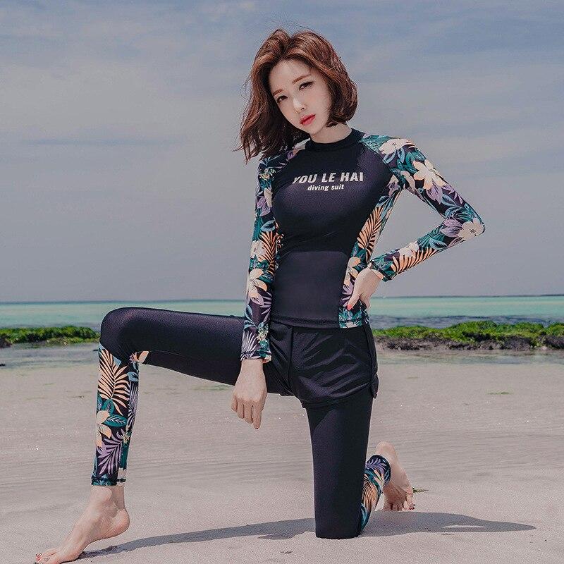 Sun-resistant Swimsuit Women's Split Type Boxer Long Sleeve Trousers Three-piece Set Sports Retro Conservative Students Hot Spri
