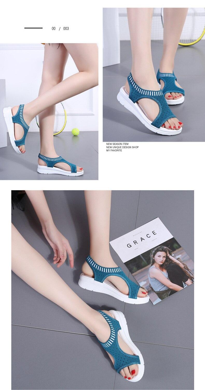 H5540329f8045487c995a79afe737de53n WDZKN 2019 Sandals Women Summer Shoes Peep Toe Casual Flat Sandals Ladies Breathable Air Mesh Women Platform Sandals Sandalias