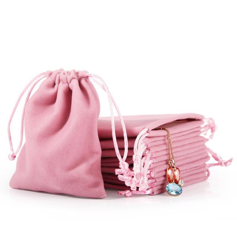 Розово-серый, ювелирное изделие, подарок Дисплей упаковочные мешки бархата шнурок подарочные пакеты Вельветовая сумка для драгоценностей