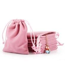 Cor-de-rosa cinza jóias presente exibição embalagem sacos de veludo cordão bolsas de presente jóias veludo saco